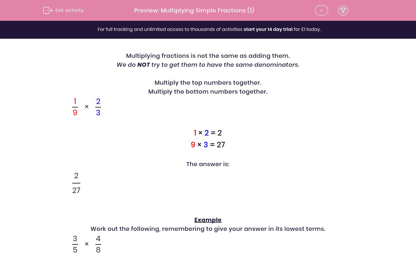 'Multiplying Simple Fractions (1)' worksheet