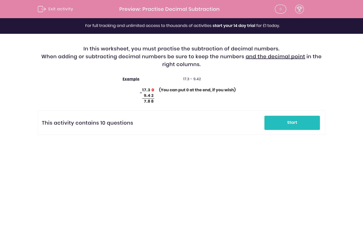 'Practise Decimal Subtraction' worksheet