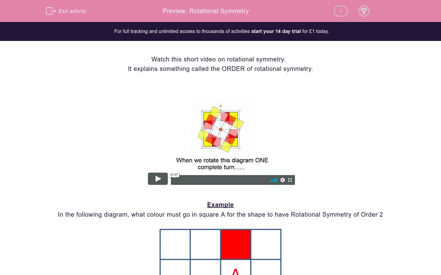 'Rotational Symmetry' worksheet