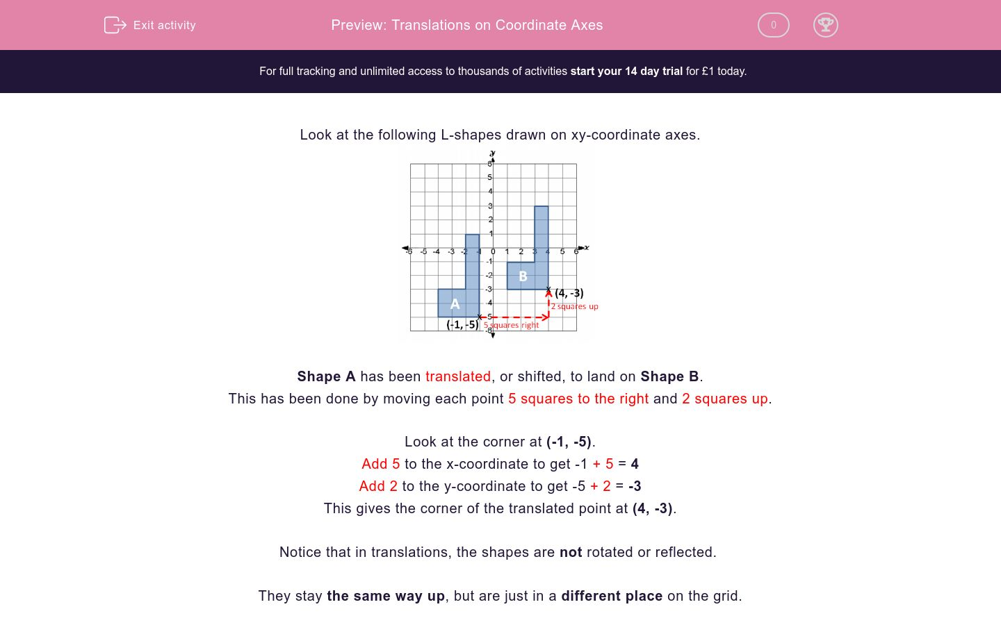'Translations on Coordinate Axes' worksheet