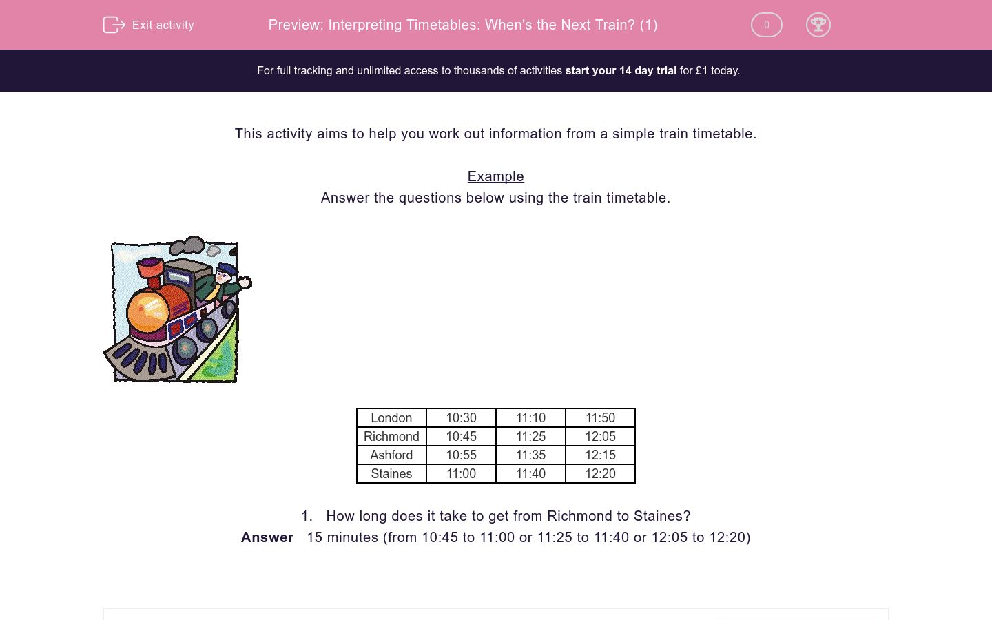 'Interpret Timetables: When's the Next Train? (1)' worksheet