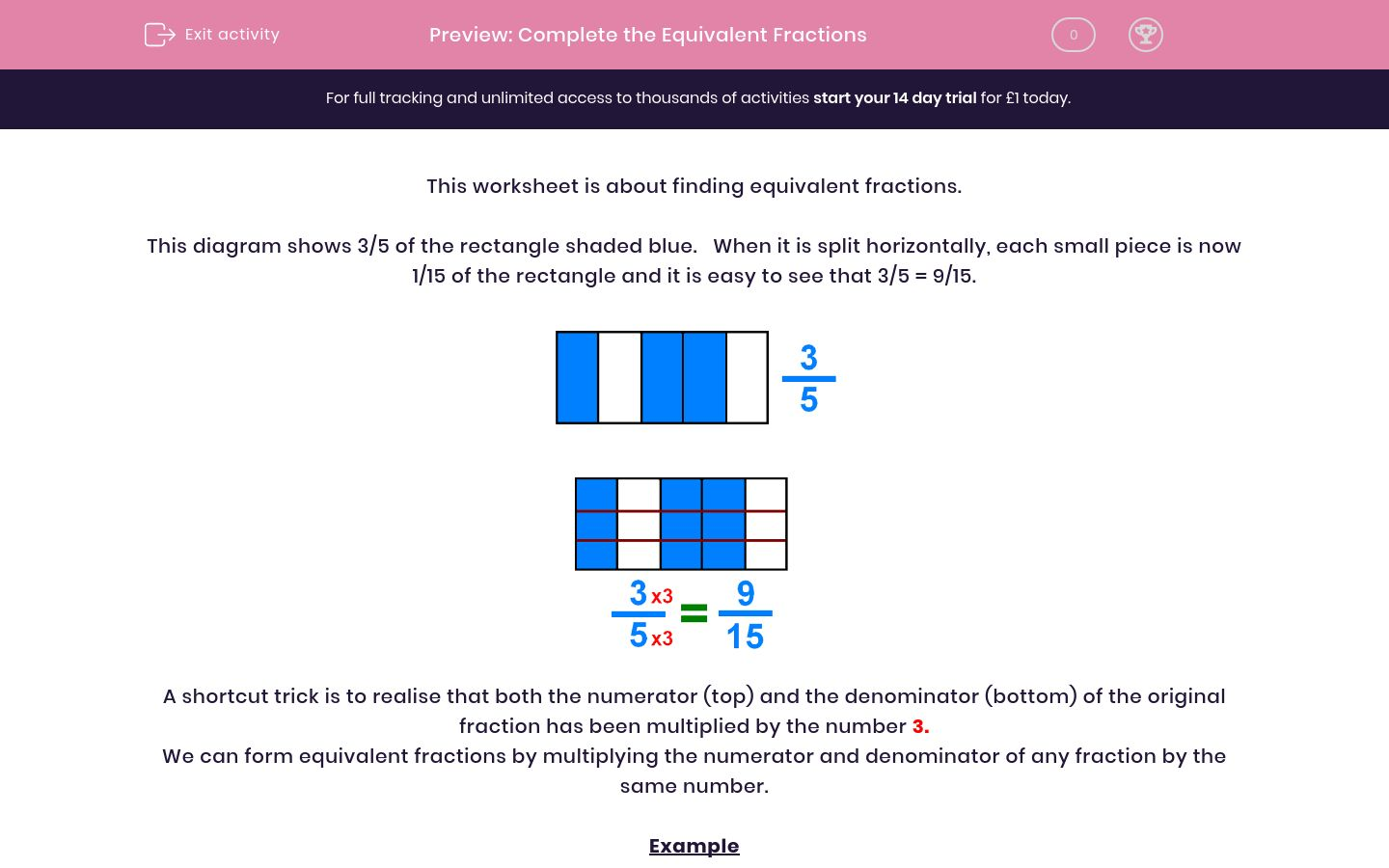'Complete the Equivalent Fractions' worksheet