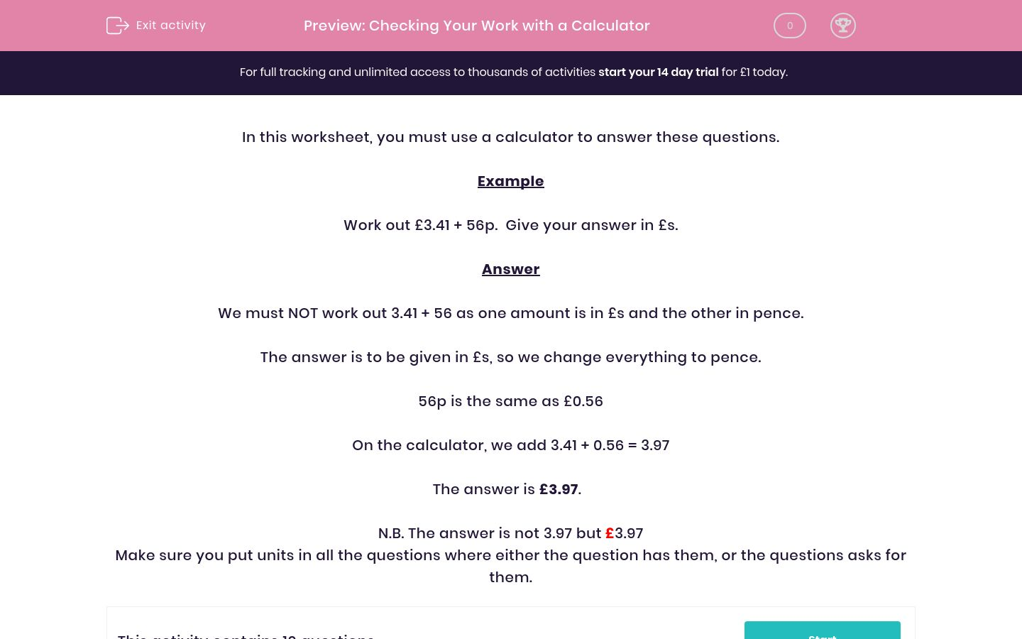 'Checking Your Work with a Calculator' worksheet