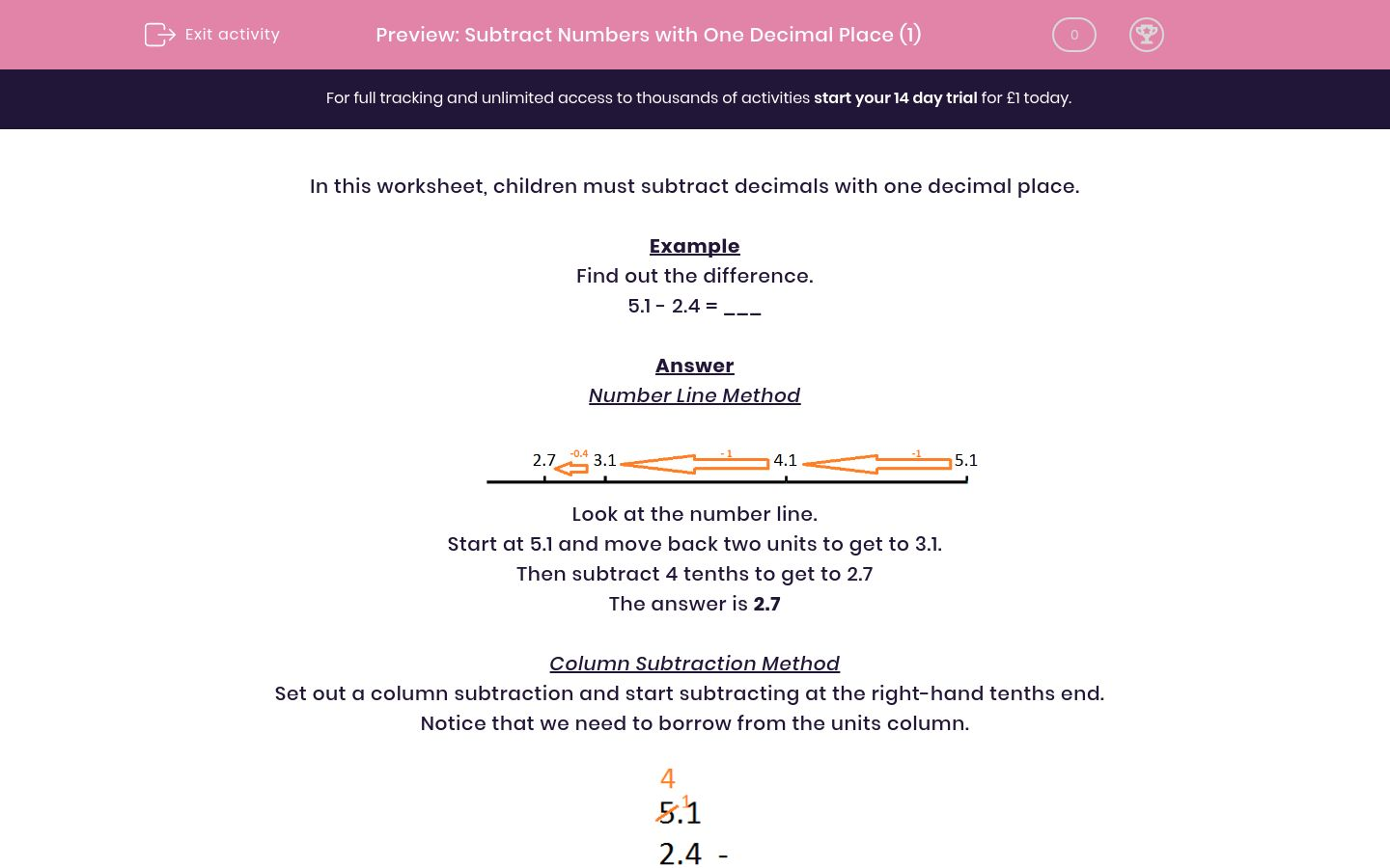 'Subtract Numbers with One Decimal Place (1)' worksheet