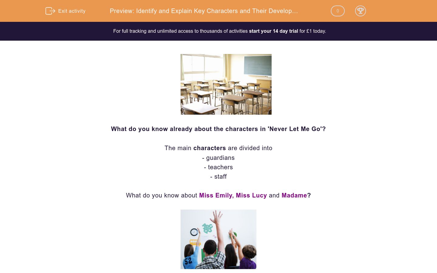 'Identify and Explain Key Characters and Their Development in 'Never Let Me Go'' worksheet