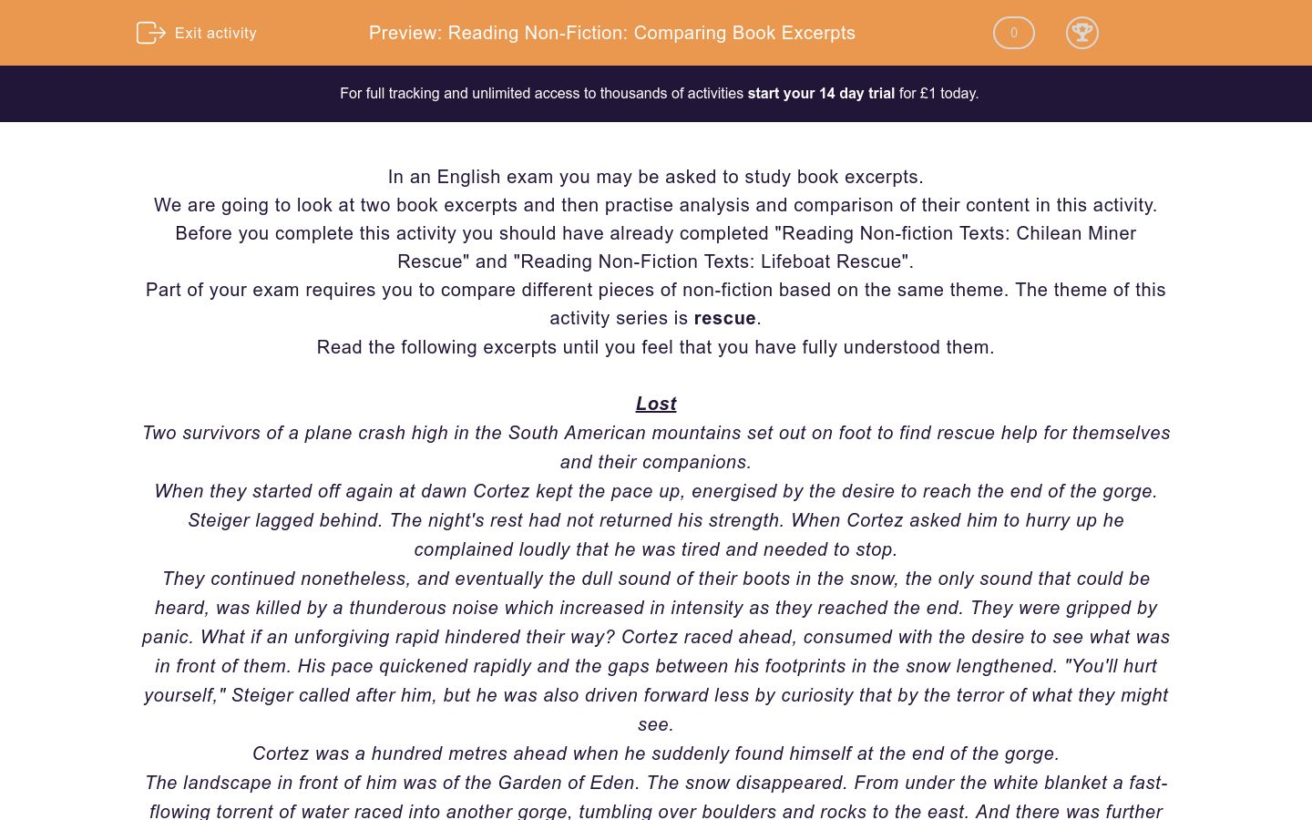 'Reading Non-Fiction: Comparing Book Excerpts' worksheet