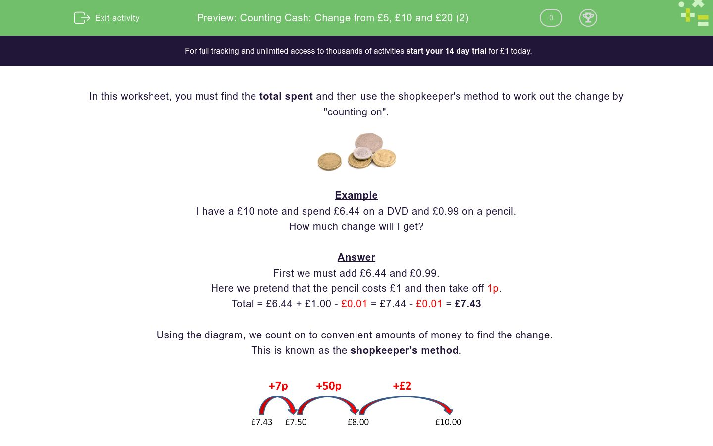 'Counting Cash: Change from £5, £10 and £20 (2)' worksheet