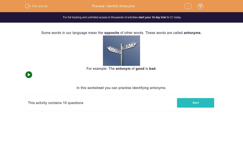 'Identify Antonyms' worksheet
