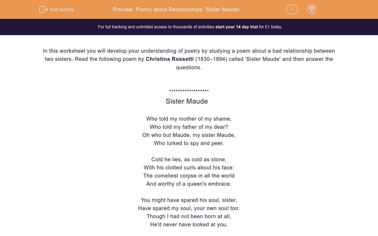 'Poetry about Relationships: 'Sister Maude'' worksheet