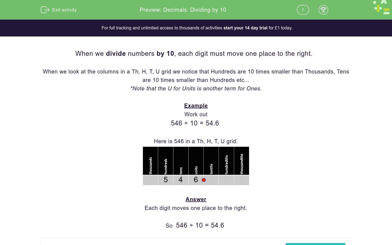 'Decimals: Dividing by 10' worksheet