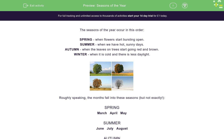 'Seasons of the Year' worksheet