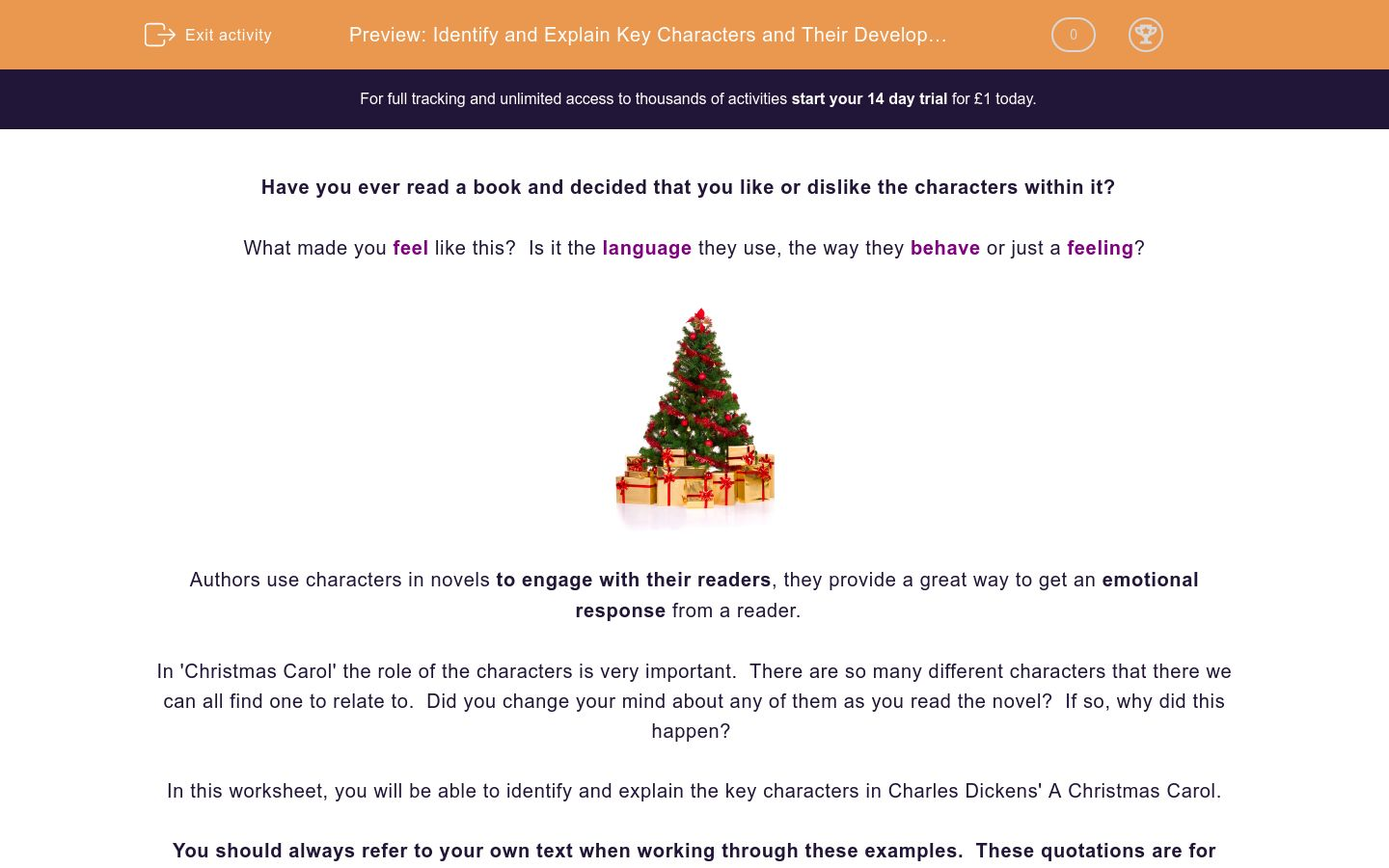 'Identify and Explain Key Characters and Their Development in 'A Christmas Carol'' worksheet