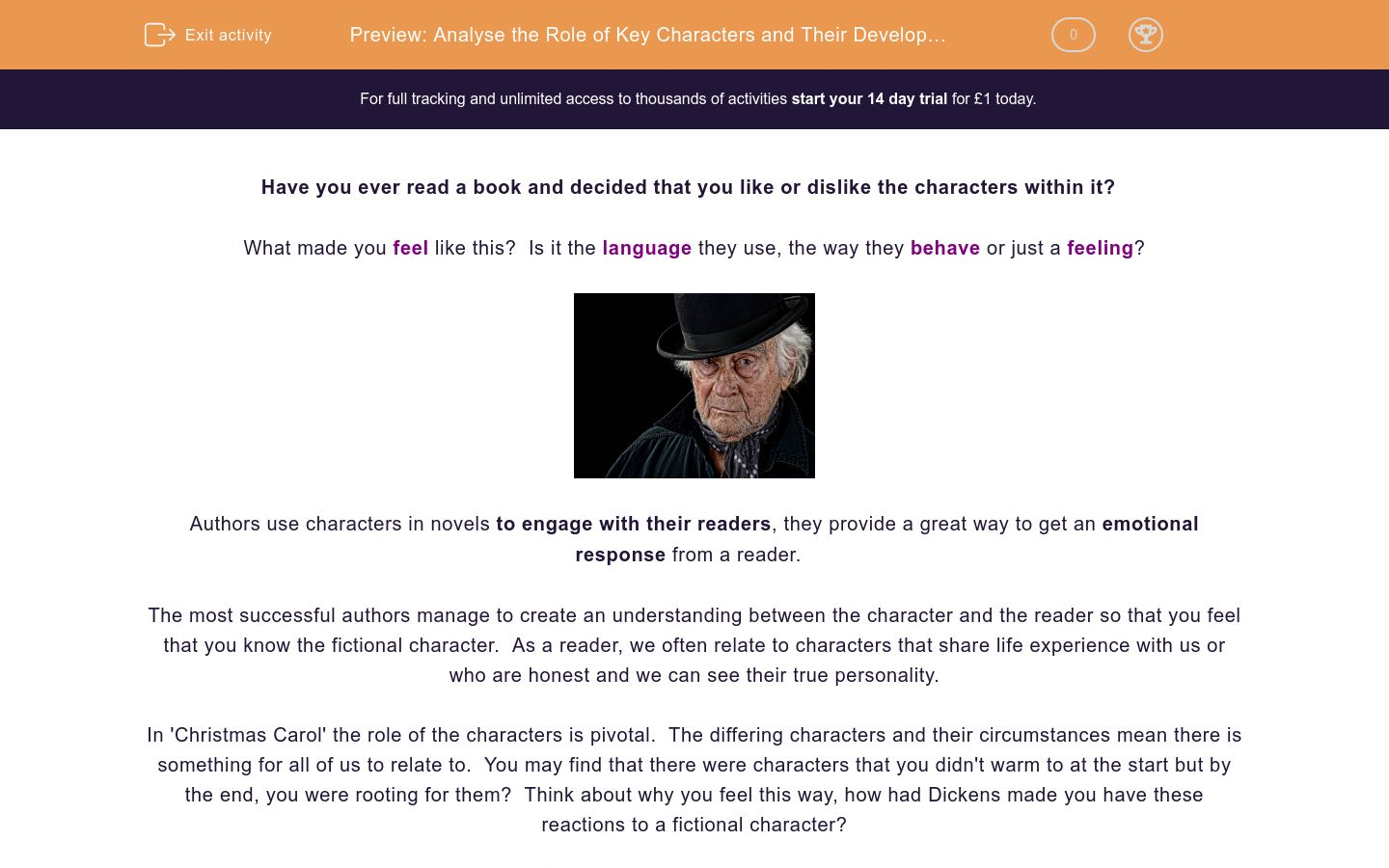 'Analyse the Role of Key Characters and Their Development in 'A Christmas Carol'' worksheet