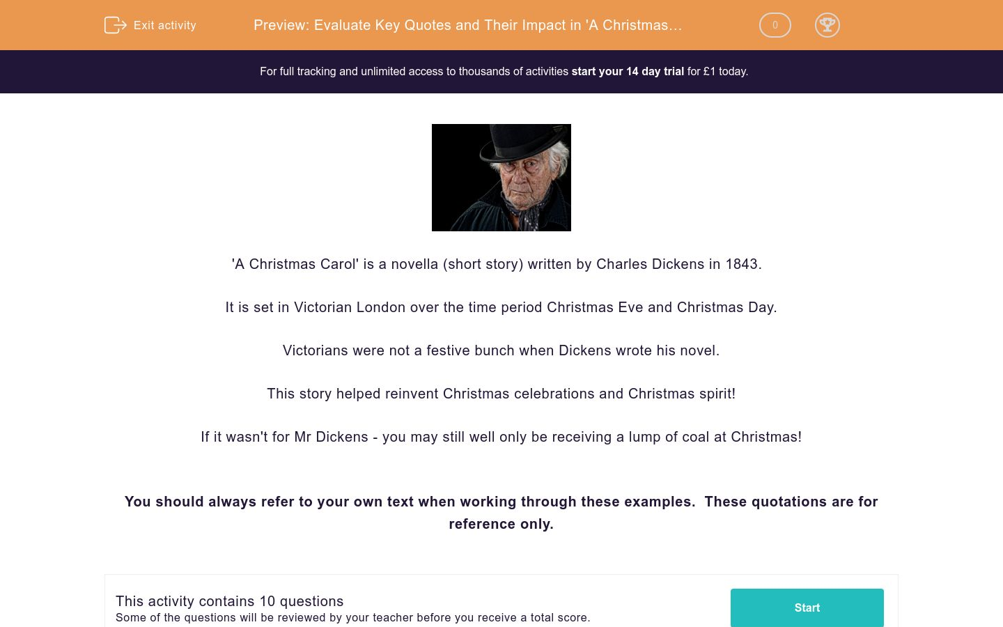 'Evaluate Key Quotes and Their Impact in 'A Christmas Carol'' worksheet