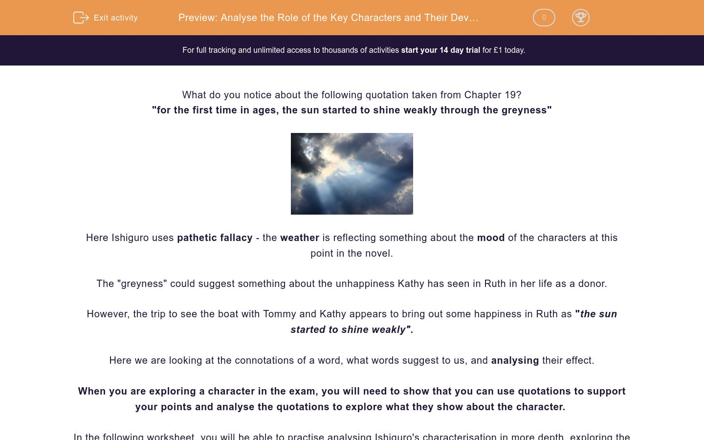 'Analyse the Role of the Key Characters and Their Development in 'Never Let Me Go'' worksheet