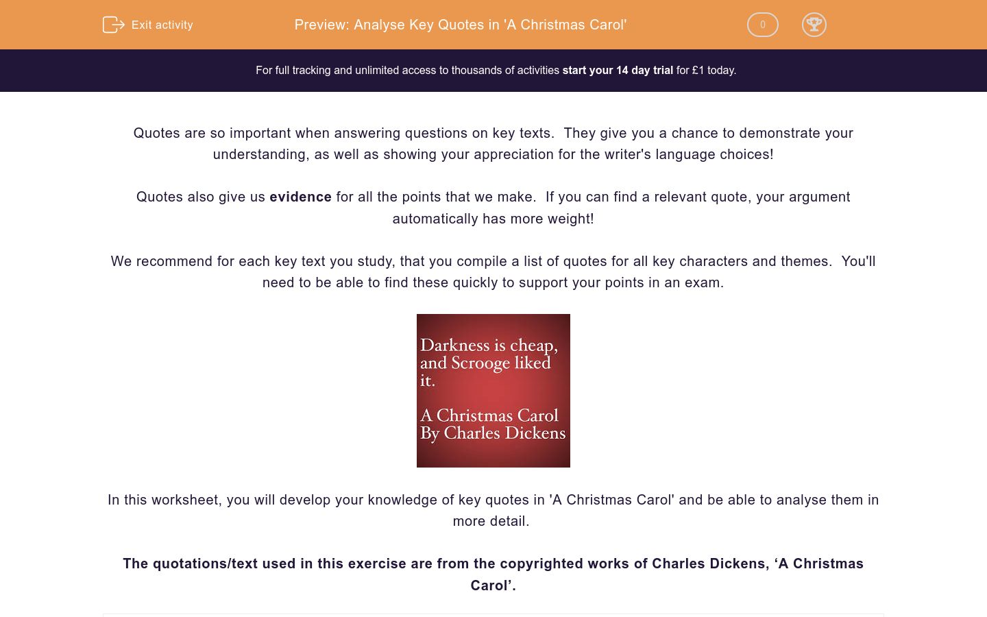 'Analyse Key Quotes in 'A Christmas Carol'' worksheet