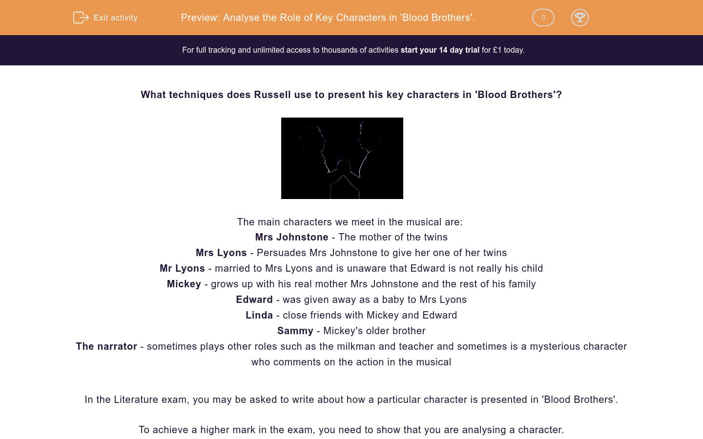 'Analyse the Role of Key Characters in 'Blood Brothers'.' worksheet