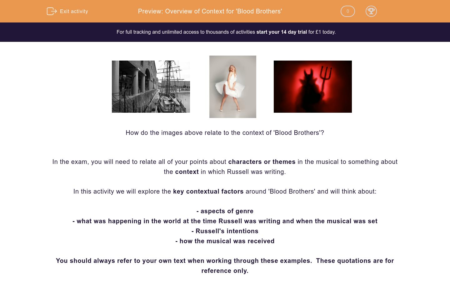 'Overview of Context for 'Blood Brothers'' worksheet
