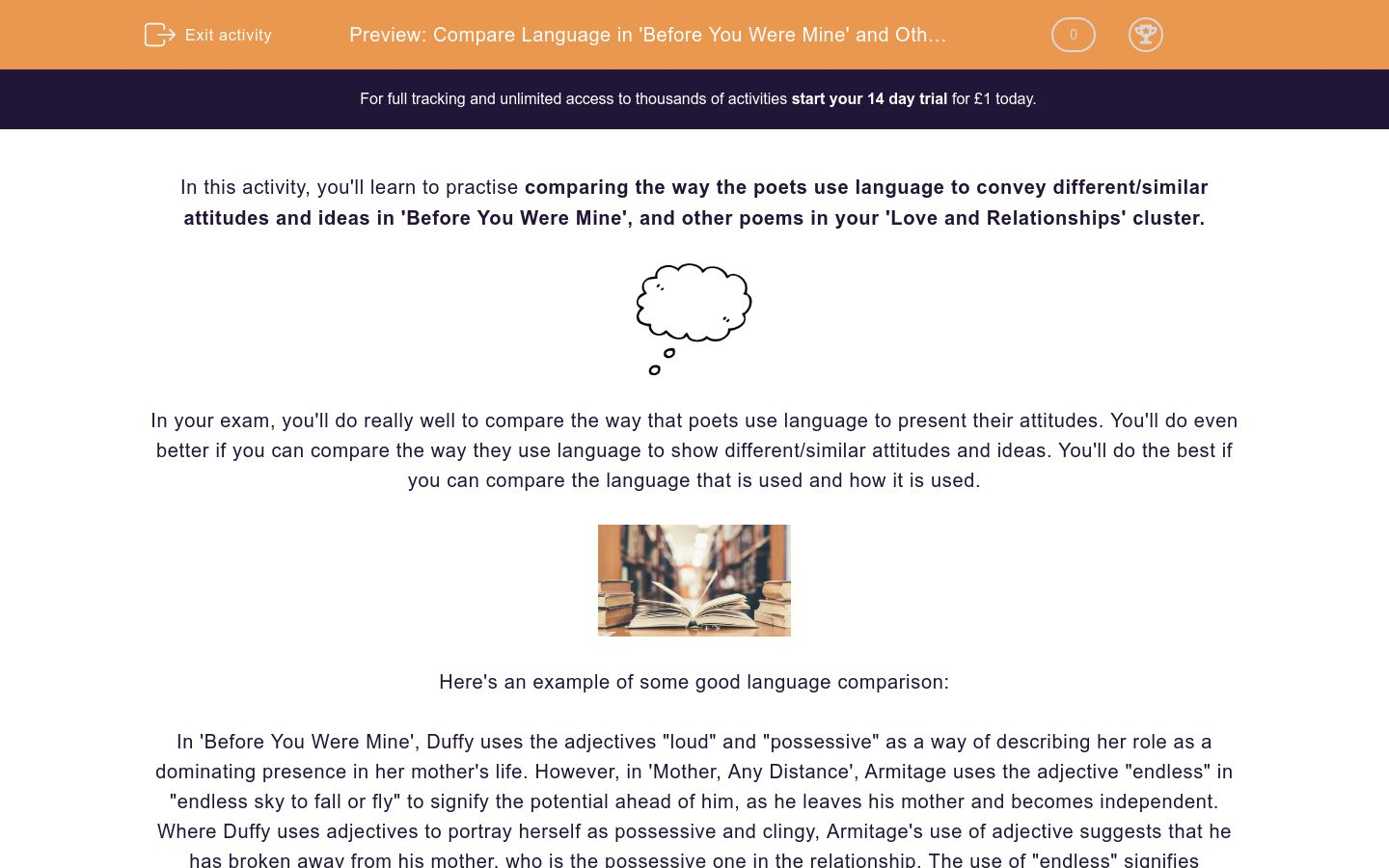 'Compare Language in 'Before You Were Mine' and Other Poems' worksheet