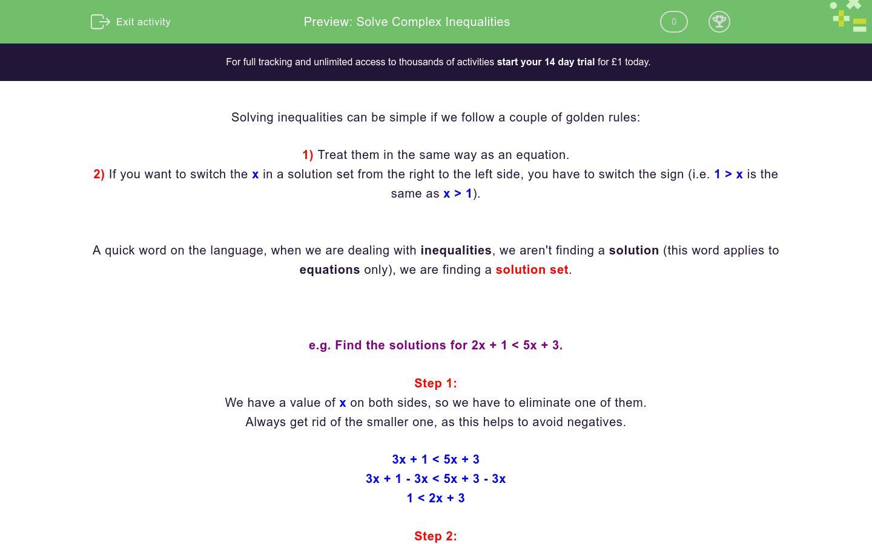 'Solve Complex Inequalities' worksheet