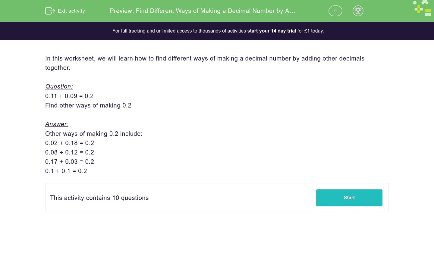 'Find Different Ways of Making a Decimal Number by Addition' worksheet