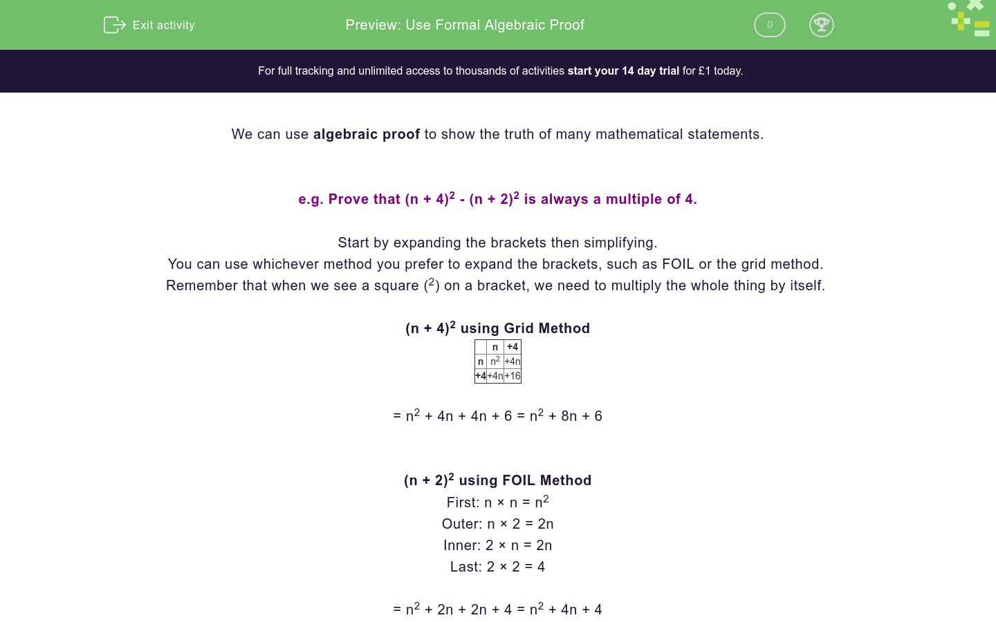'Use Formal Algebraic Proof' worksheet