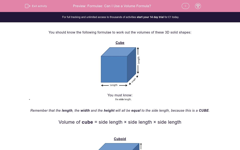 'Formulae: Can I Use a Volume Formula?' worksheet