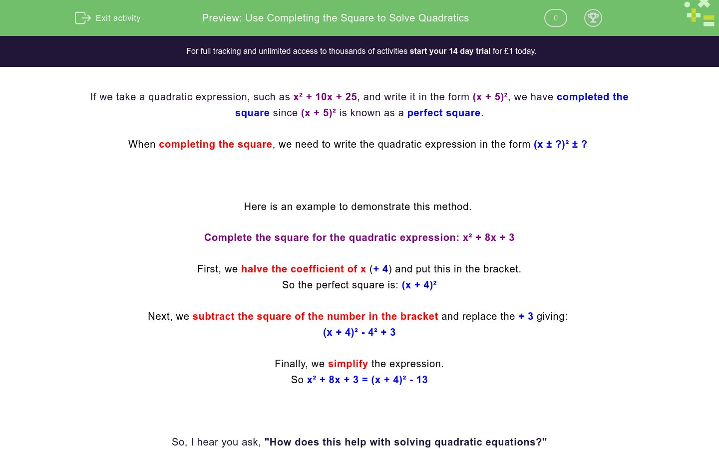 'Use Completing the Square to Solve Quadratics' worksheet
