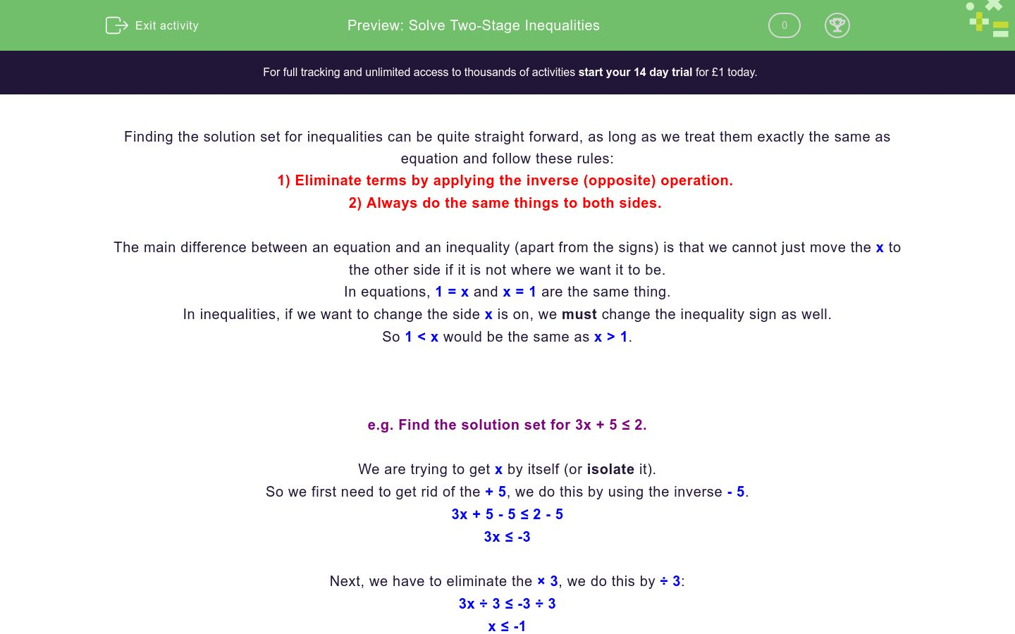 'Solve Two-Stage Inequalities' worksheet
