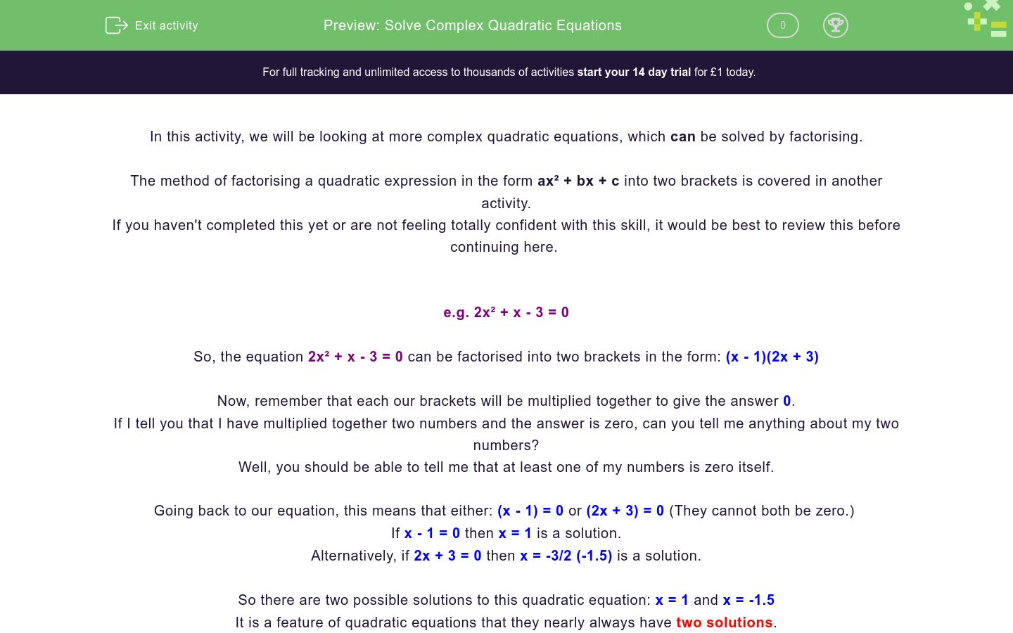 'Solve Complex Quadratic Equations' worksheet