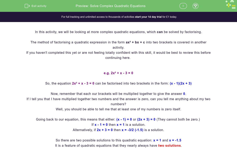 'Solve Complex Quadratic Equations' worksheet