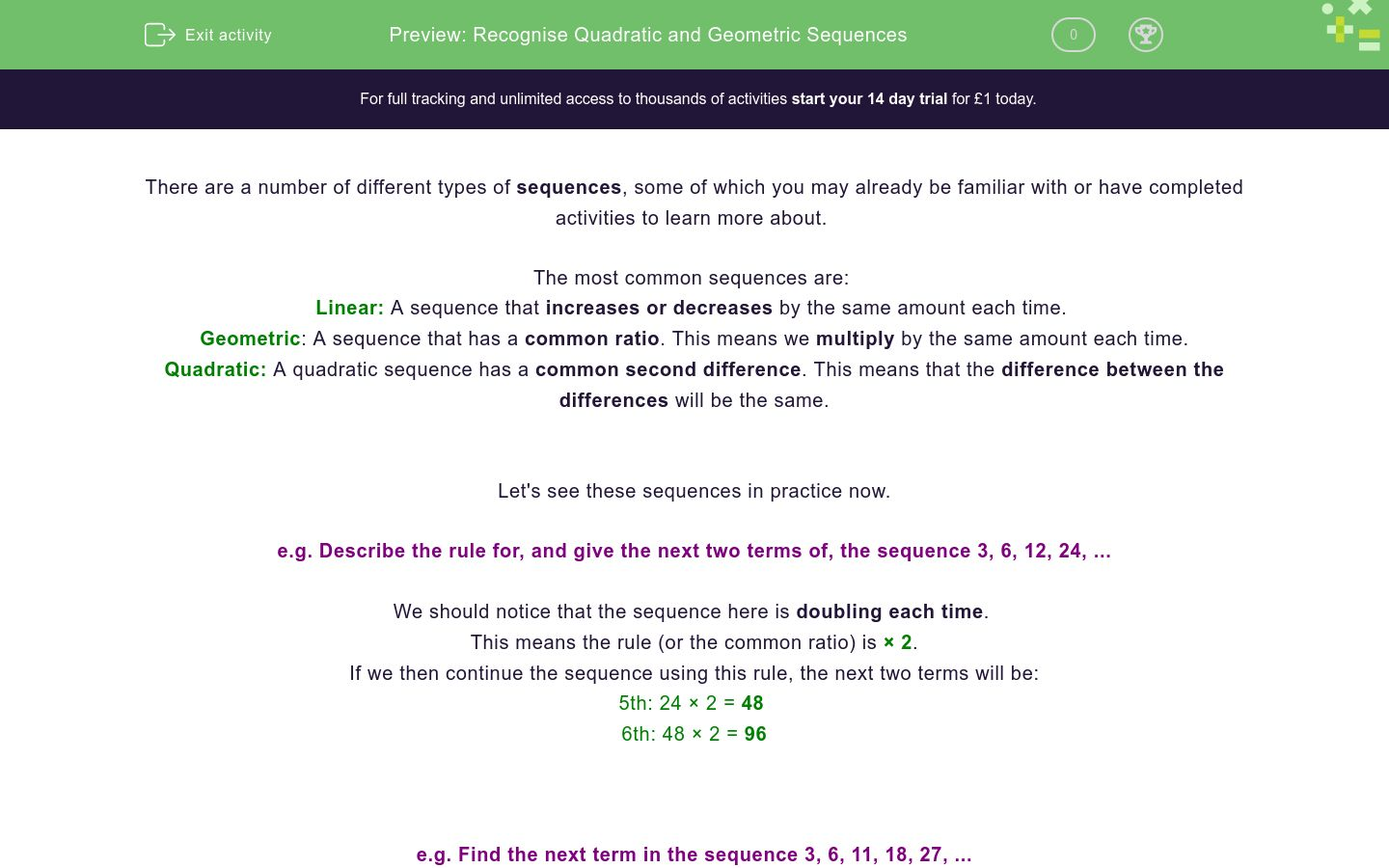 'Recognising Quadratic and Geometric Sequences' worksheet