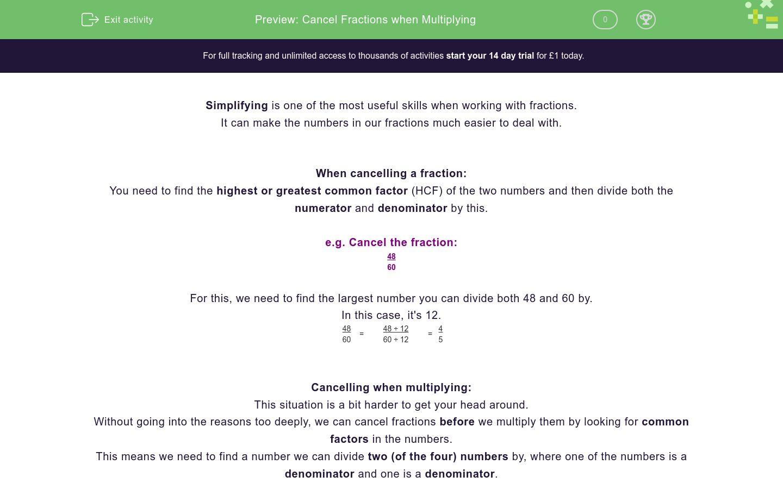 'Cancel Fractions when Multiplying' worksheet