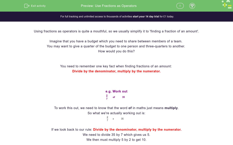 'Use Fractions as Operators' worksheet