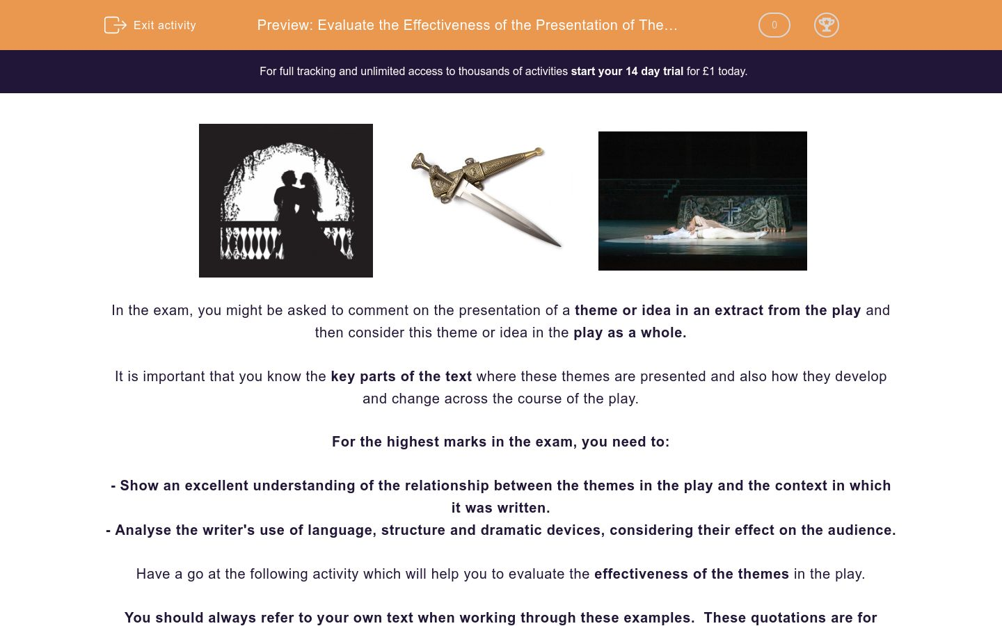 'Evaluate the Effectiveness of the Presentation of Themes in 'Romeo and Juliet'' worksheet