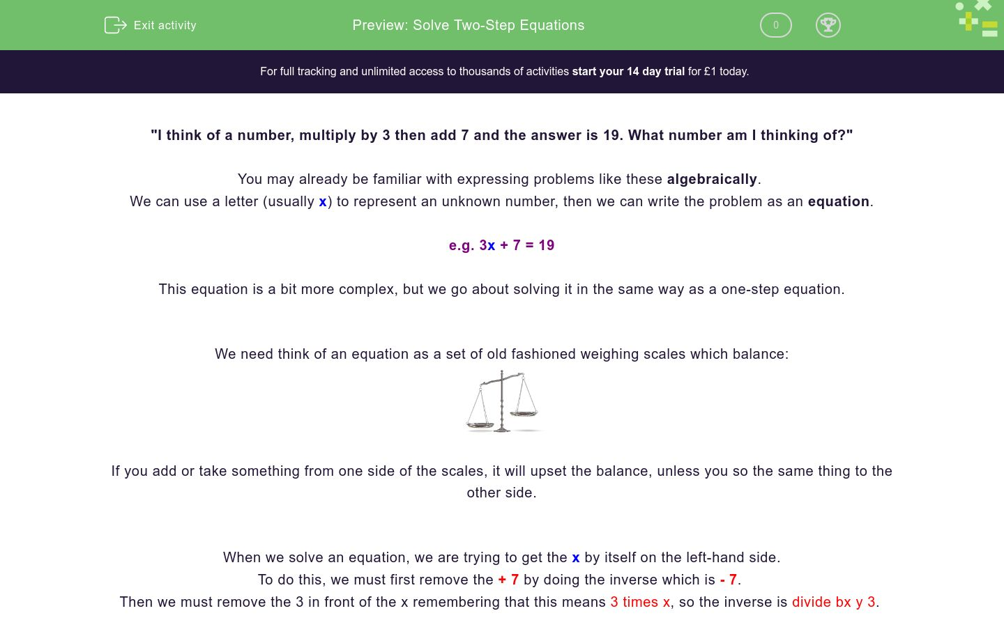 'Solve Two-Step Equations' worksheet