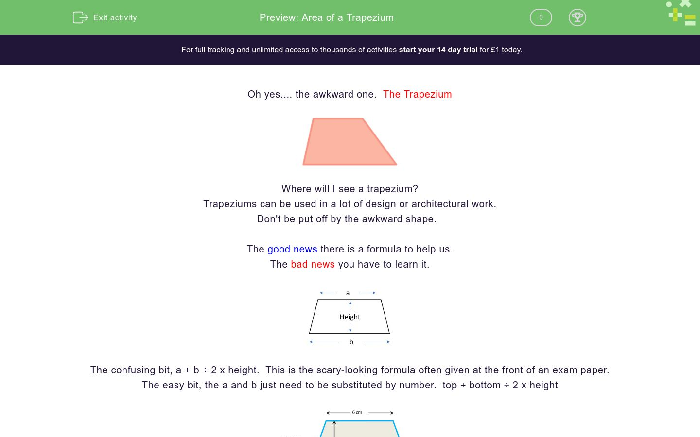 'Find the Area of a Trapezium' worksheet
