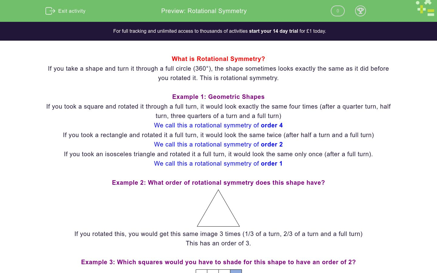 'Recognise Rotational Symmetry' worksheet