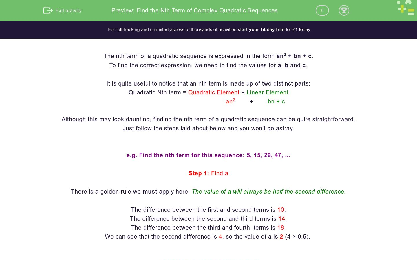 'Find the Nth Term of Complex Quadratic Sequences' worksheet