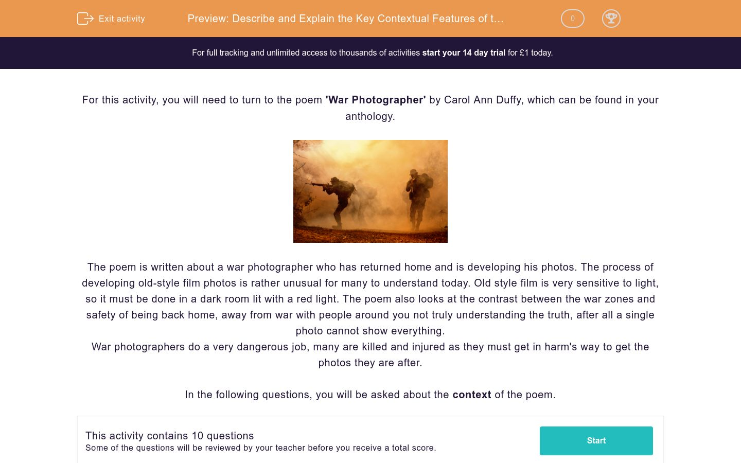 'Describe and Explain the Key Contextual Features of the Poem 'War Photographer' by Carol Ann Duffy' worksheet