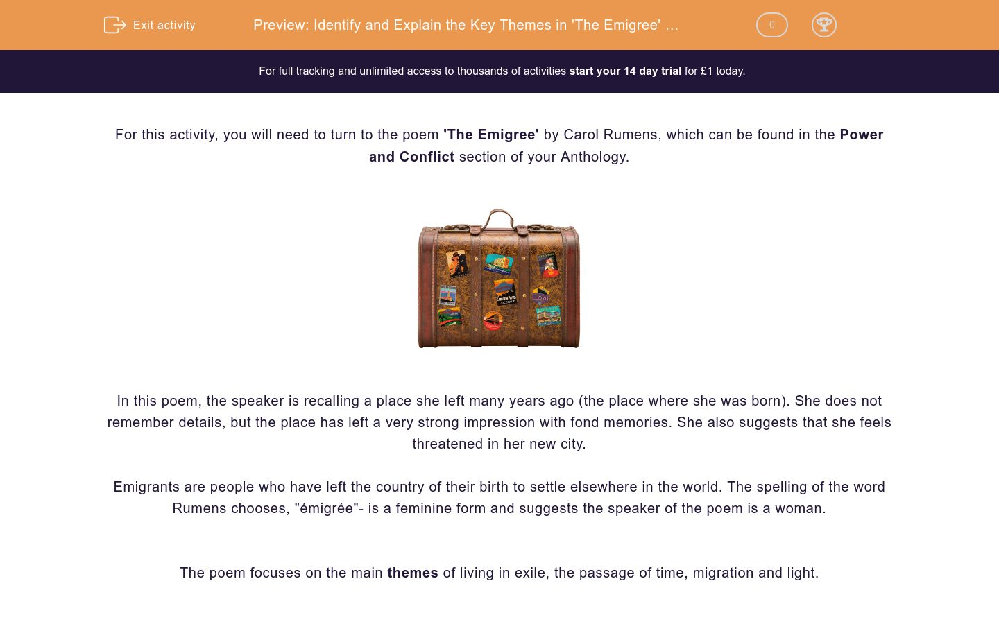 'Identify and Explain the Key Themes in 'The Emigree' by Carol Rumens' worksheet
