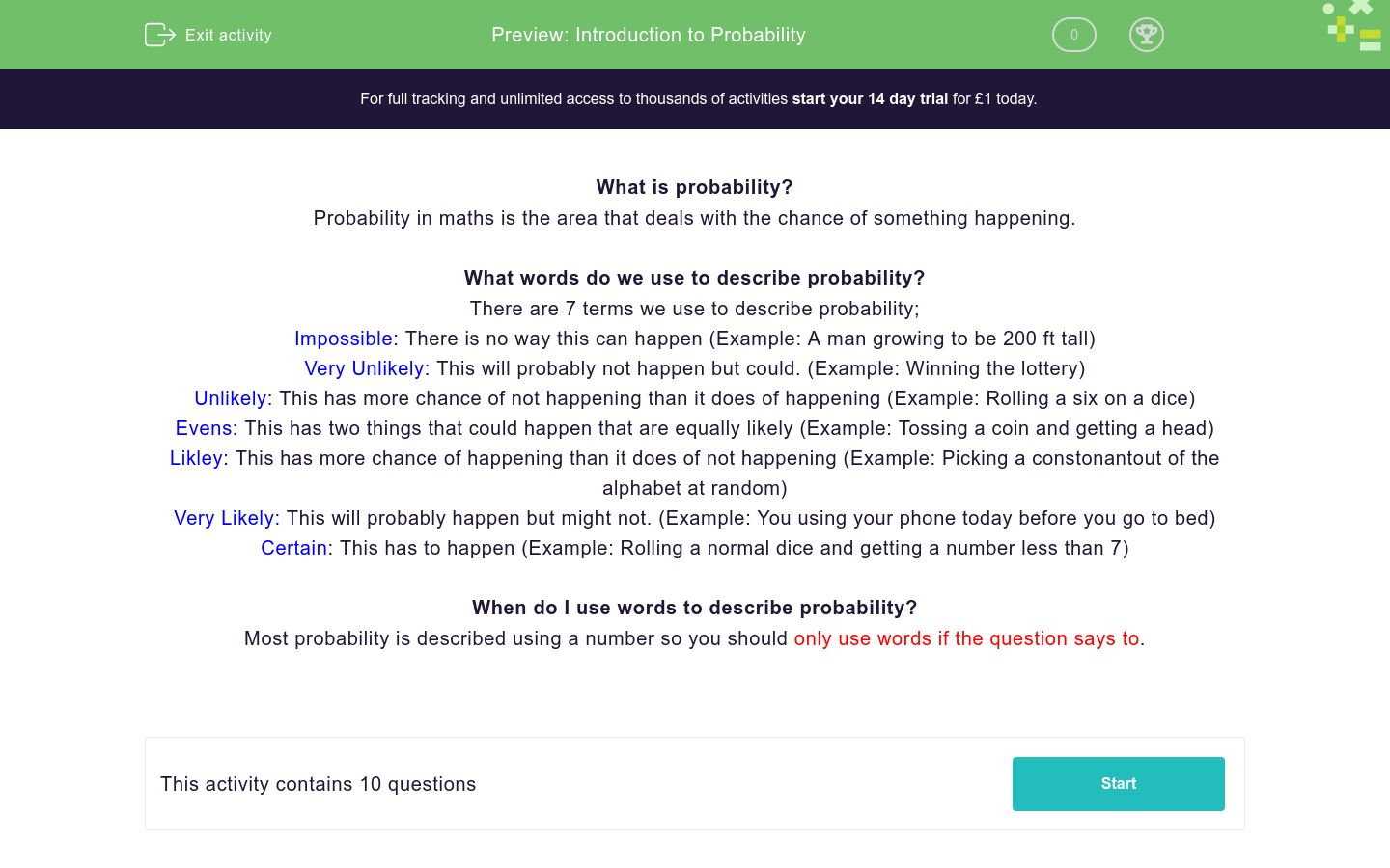 'Introduction to Probability' worksheet