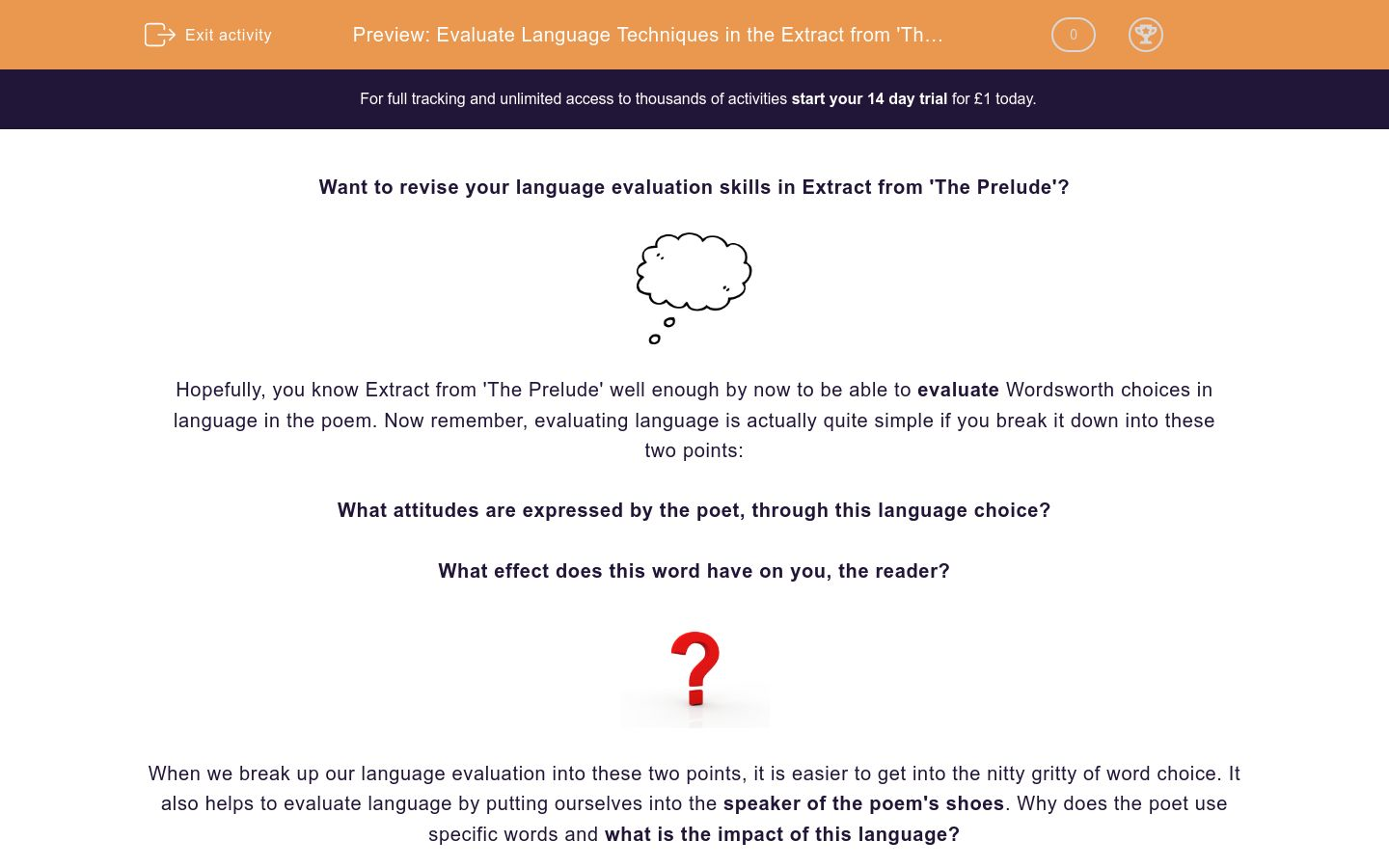'Evaluate Language Techniques in the Extract from 'The Prelude'' worksheet