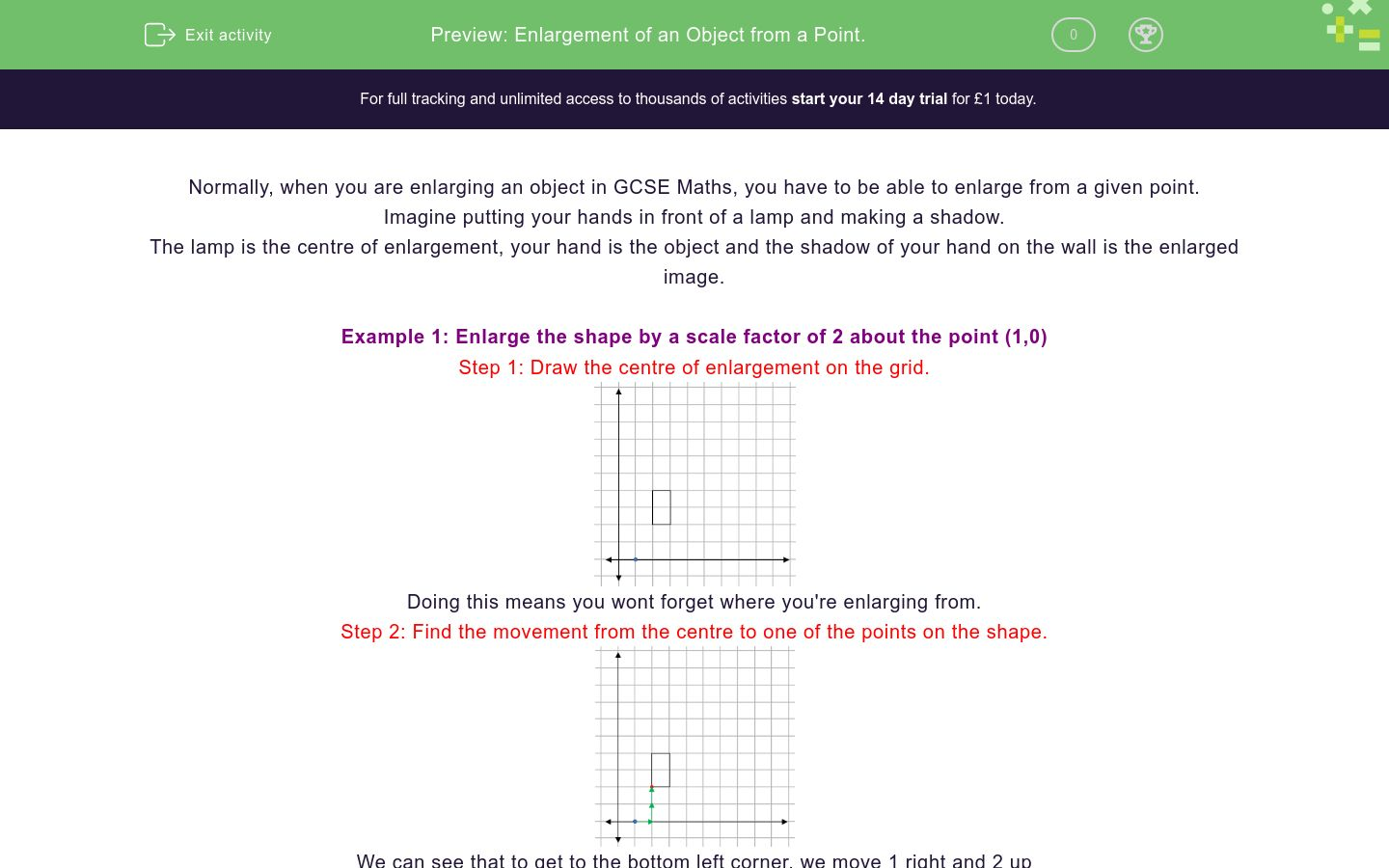 'Enlargement of an Object from a Point.' worksheet
