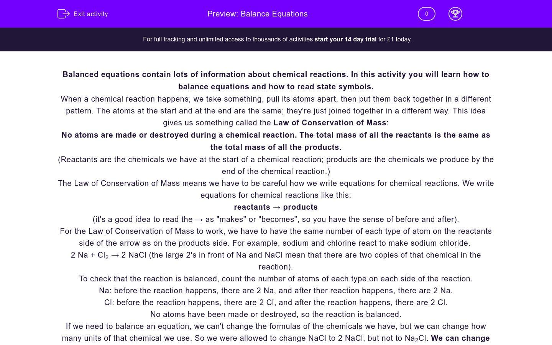 'Balance Equations' worksheet