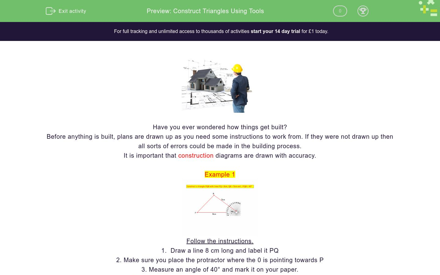 'Construct Triangles Using Tools' worksheet