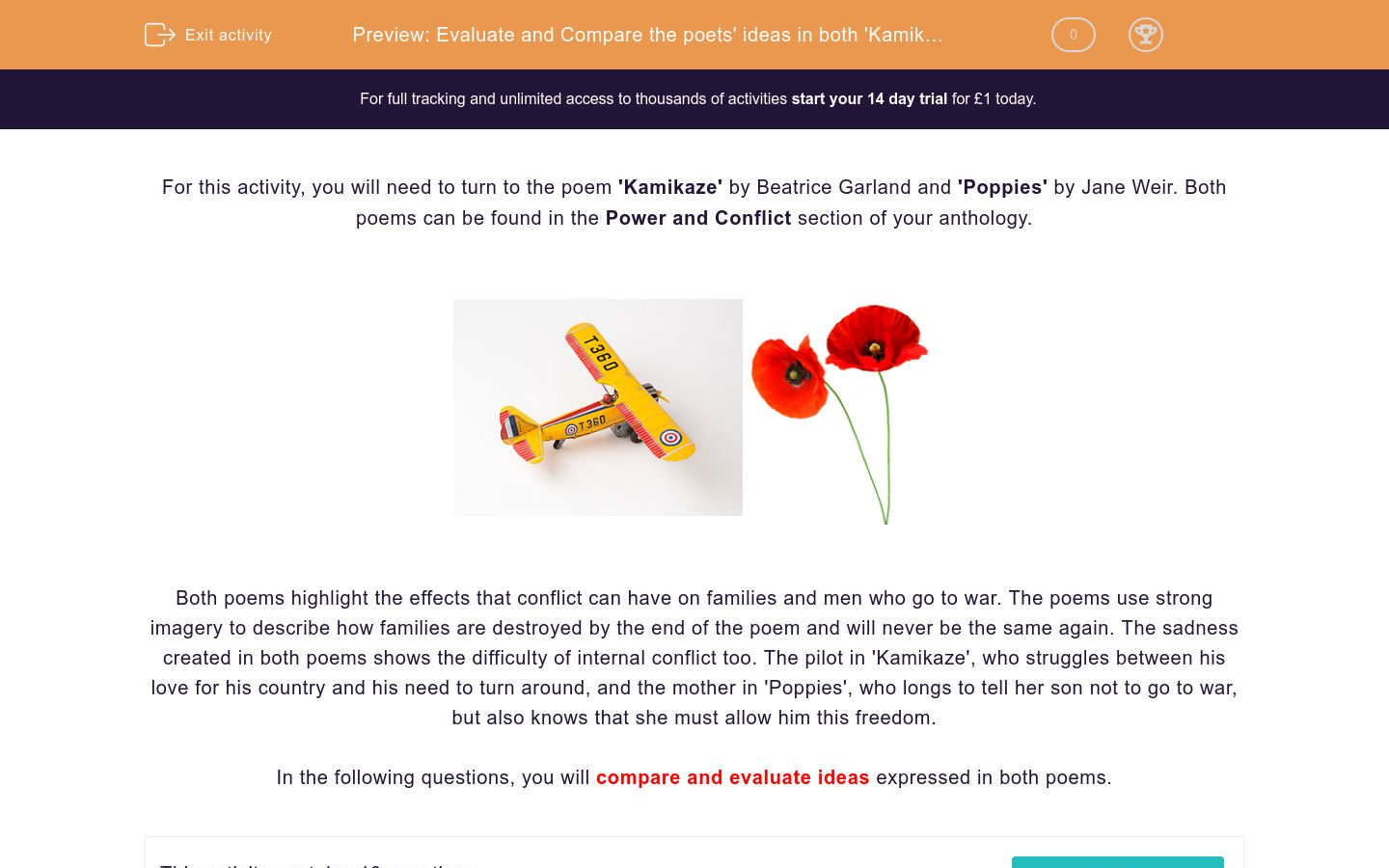 'Evaluate and Compare the poets' ideas in both 'Kamikaze' by Beatrice Garland and 'Poppies' by Jane Weir' worksheet