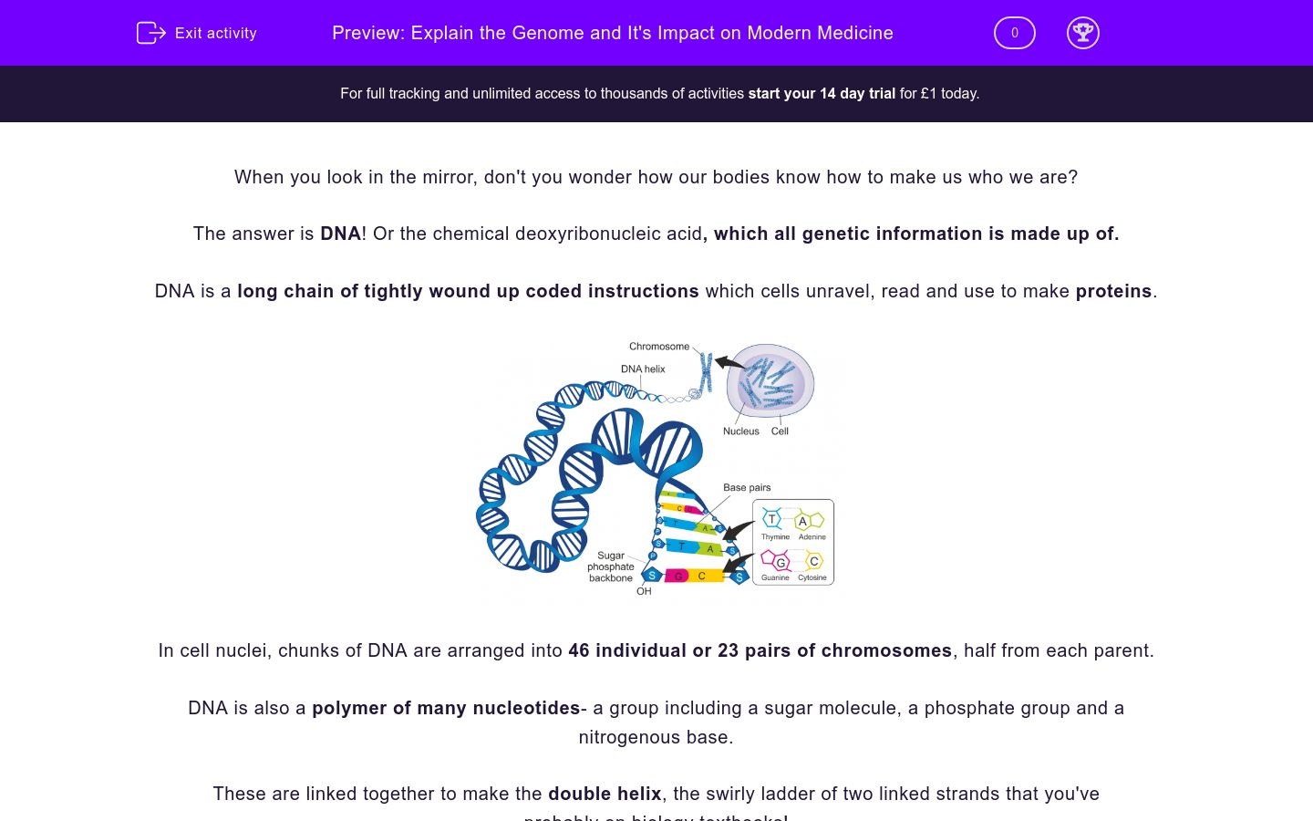 'Explain the Genome and its Impact on Modern Medicine' worksheet