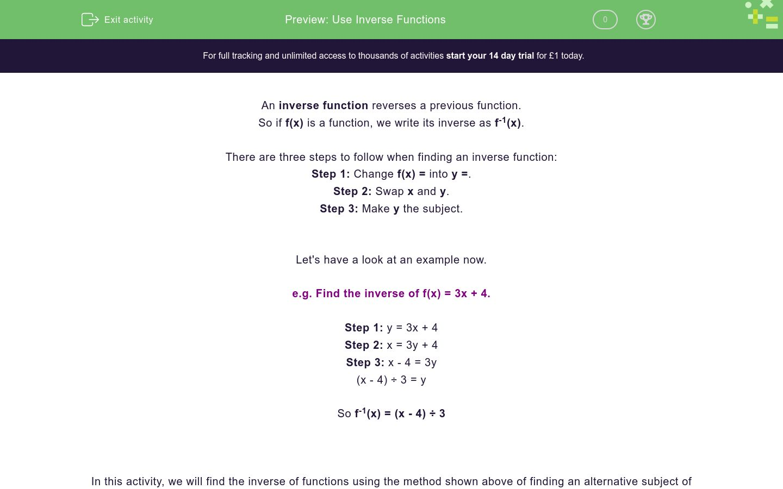'Use Inverse Functions' worksheet