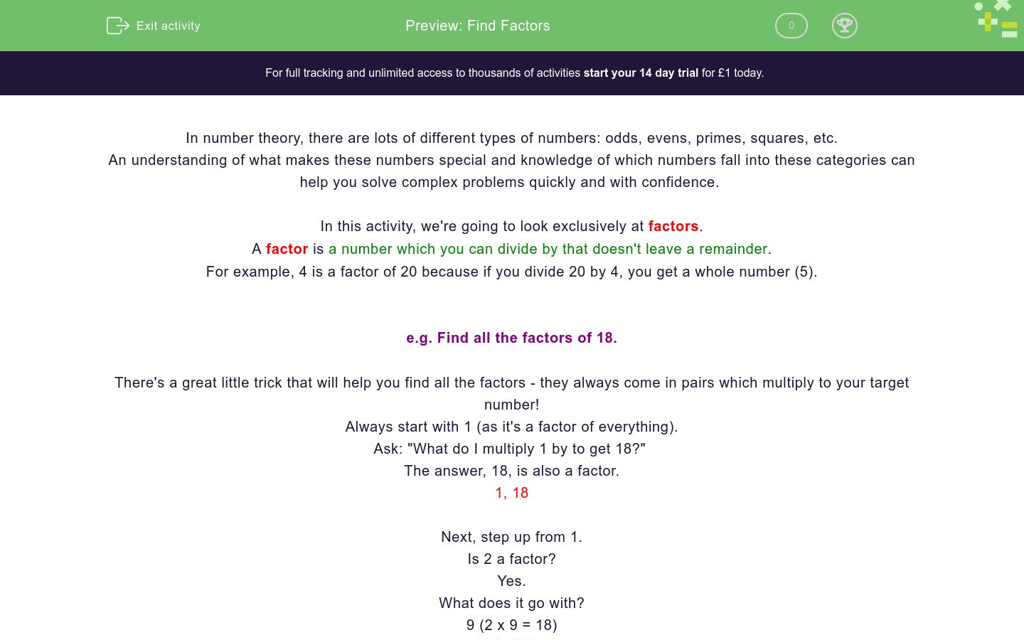 'Find Factors' worksheet